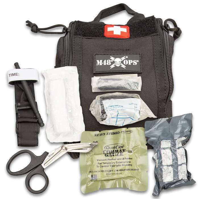 """M48 Black Medical Trauma Pouch - Necessary Trauma Supplies, 600D Polyester Bag, Professional Use, Double Zipper Closure - Dimensions 6 1/2""""x 6"""""""