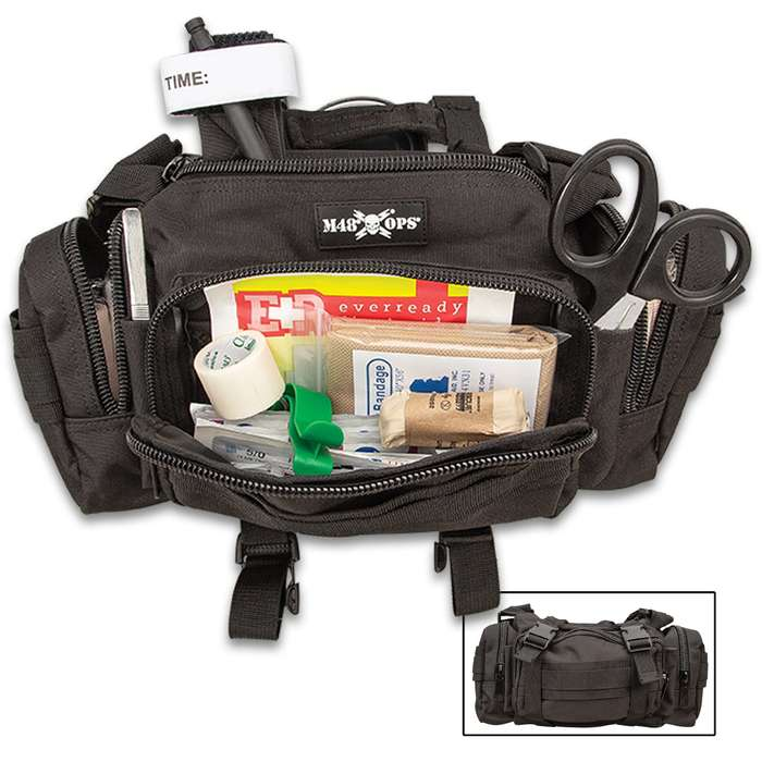 "M48 OPS Black Tactical Response Kit - Daily Field First Aid Supplies, 600D Polyester Bag, Heavy Duty Zippers - Dimensions 14""x 8""x 4"""