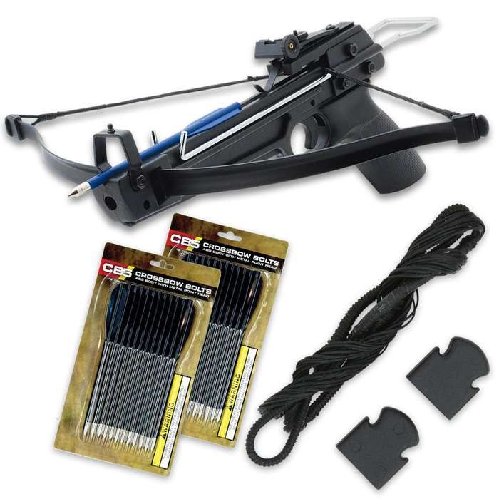 Avalanche Crossbow Pistol Starter Kit - Includes 50-lb Crossbow, 29 Arrows and Extra String