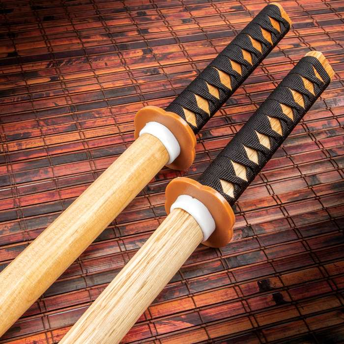 Natural Wood Daito Bokken Katanas - Two For One, Sturdy Wooden Construction, Nylon Cord-Wrapped Handle - Length 40""