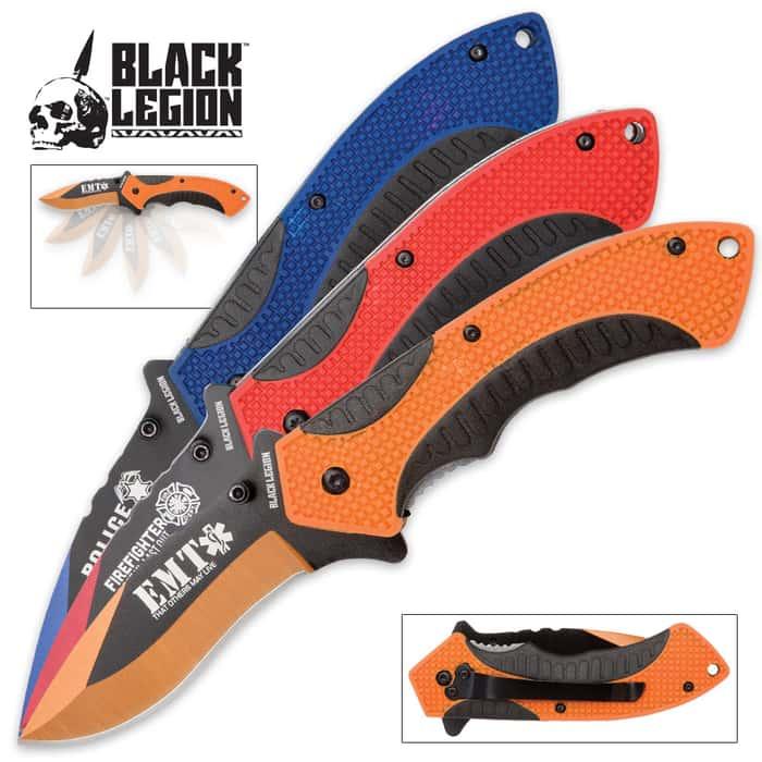 Black Legion Hometown Heroes 3-Piece Pocket Knife Set - Firefighter-, Police-, EMS-Themed Folders