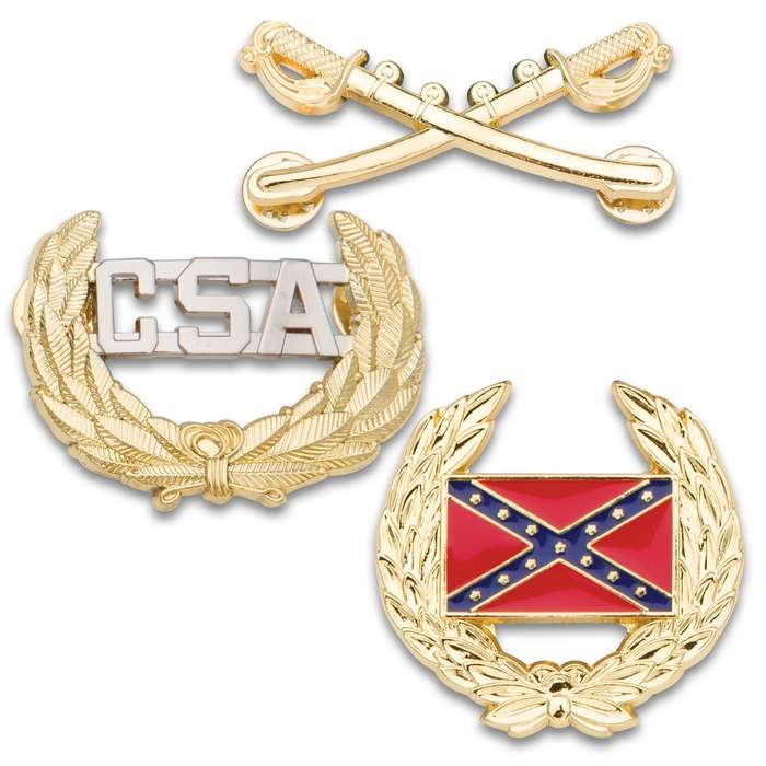 Civil War Historical Hat Pin Combo Pack - 3 Pins: Crossed Saber Cavalry Pin, Rebel / Confederate Battle Flag Wreath Pin, CSA Officer Pin - Cast Metal, Polished Golden Finish, Butterfly Clasp