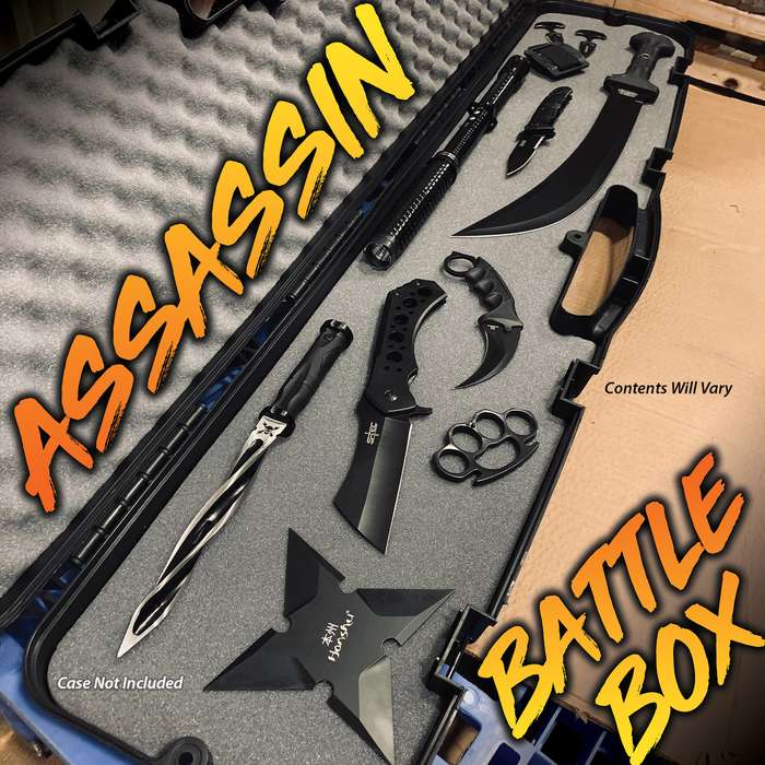 Assassin Battle Box - M48 Cyclone Dagger, Stun Gun, Throwing Star, Contents Will Vary