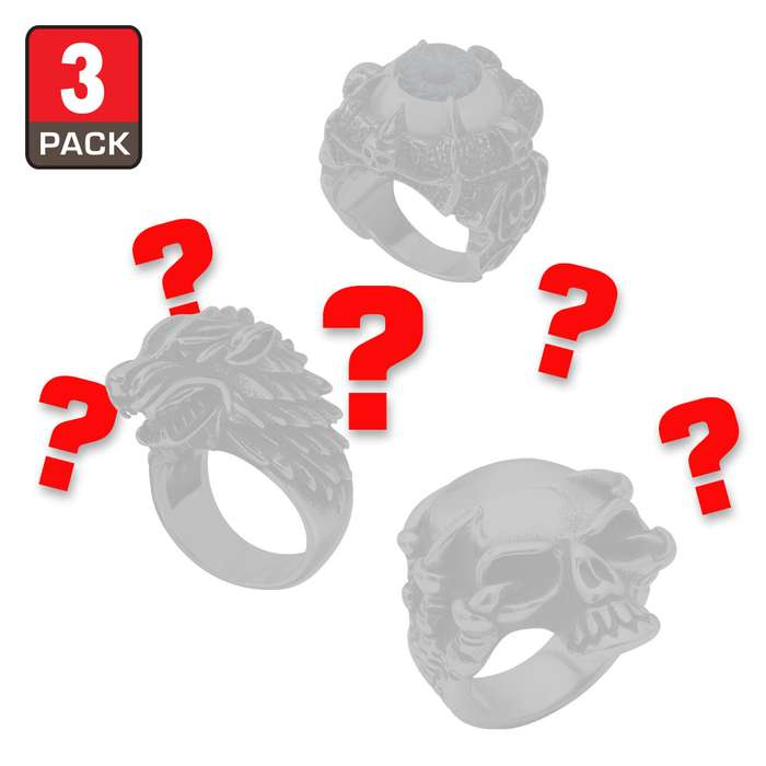 Three-Piece Mystery Men's Ring Set - Crafted Of Stainless Steel, Three Unique Rings, Incredible Value