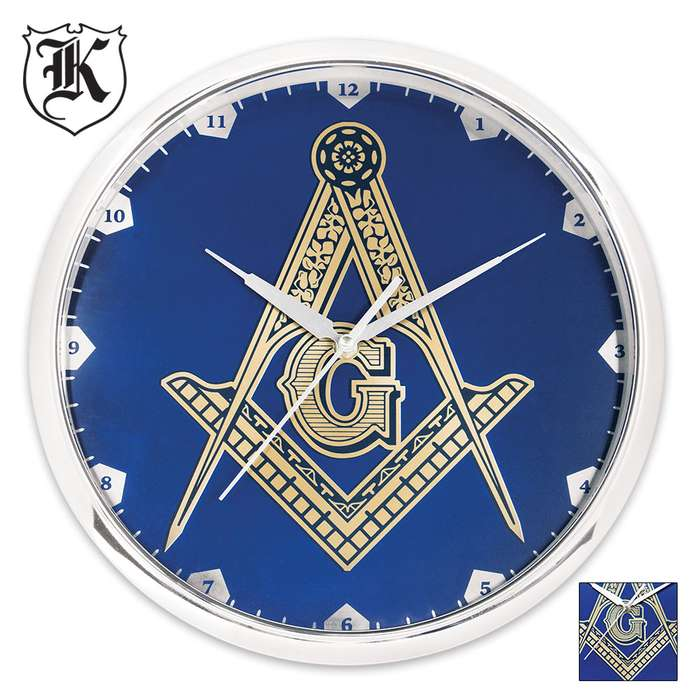 Blue Masonic Wall Clock