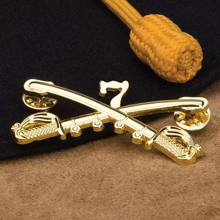 Gold Seventh Cavalry Crossed Saber Hat Pin