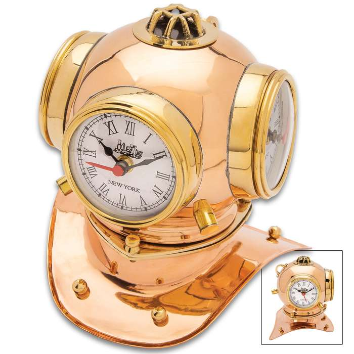 """Diver Helmet Three Dialed World Table Clock - High-Quality Copper And Brass Construction, Roman Numerals - Dimensions 8 1/2""""x 7 3/4""""x 6 1/2"""""""