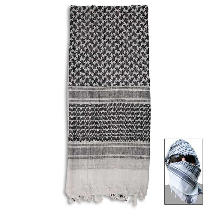White & Black Tactical Shemagh Head Wrap Mask Airsoft