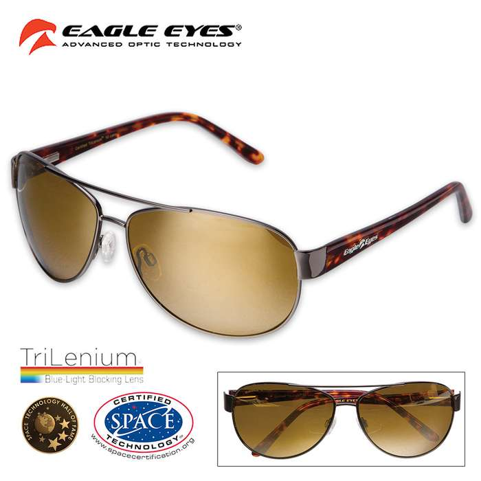 Magellan Tortoise Shell Sunglasses with Microfiber Cleaning Pouch