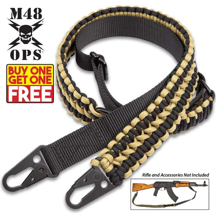 "M48 Paracord Two-Point Gun Sling - 250 LBS Strength, Paracord And Nylon Webbing, Metal Hardware, Adjustable From 41"" Up To 52"" - BOGO"