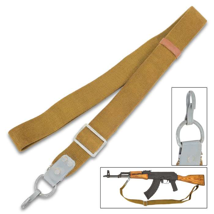 Russian Military AK-47 Canvas Sling - Used - OD Canvas, Nylon Webbing, Adjustable, Metal Hardware, Leather Strap