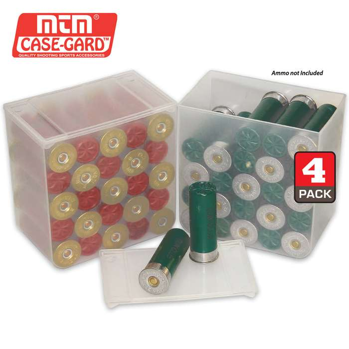 25 Round Shell Stack Shotshell Storage Boxes - 4 Pack