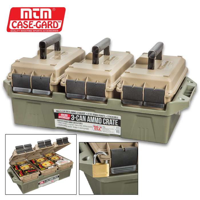 MTM Three-Can Ammo Crate For .50 Caliber Ammo Cans - Rugged Polymer And Polypropylene Construction, Stackable, Carry Handles