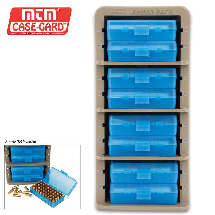 MTM Ammo Rack With Eight Ammo Boxes - 9mm, .380 ACP Rounds - Adjustable Shelves, Free Standing Or Wall Mount, Flip-Top Boxes