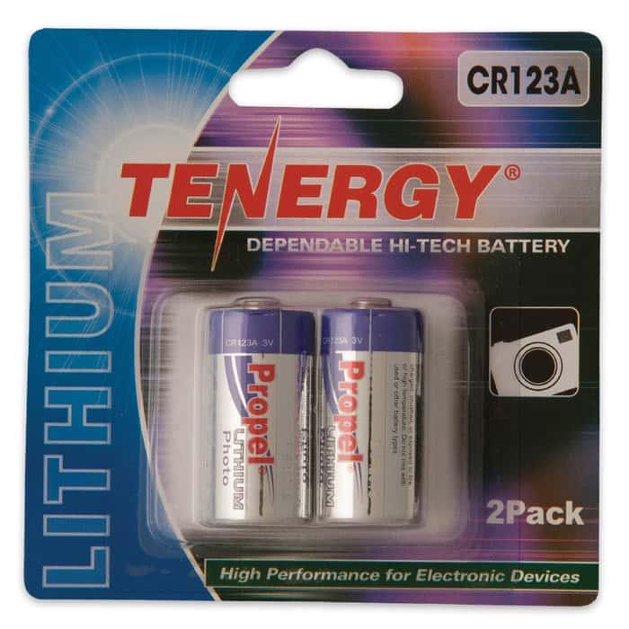 Tenergy Propel CR123A Lithium 3V Batteries 2 Pk
