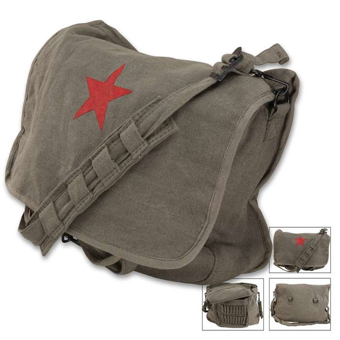 Classic Sage shoulder Bag with Red China Star