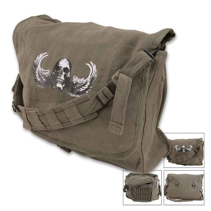 Classic Sage Shoulder Bag With Skull Wings
