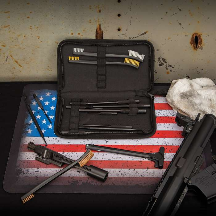 The 14-Piece Firearm Maintenance Kit is a solid choice for a compact and portable gun repair kit that can be used on the fly