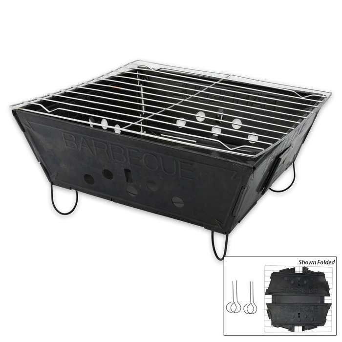 Compact Folding Camping And Tailgating Barbecue Grill