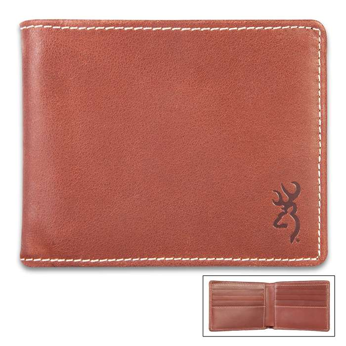 Browning Bandera Leather Bi-Fold Wallet - Cognac Color Leather, Stamped Buckmark Logo, Contrast Stitching, Cotton Twill Lining
