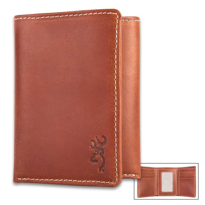 Browning Bandera Leather Tri-Fold Wallet - Cognac Color Leather, Stamped Buckmark Logo, Contrast Stitching, Cotton Twill Lining