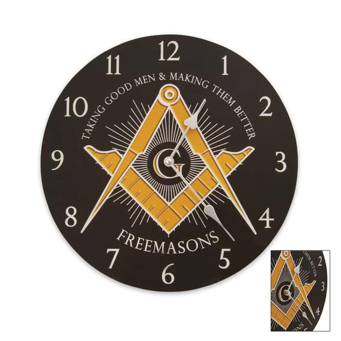 Freemasons Wall Clock Black