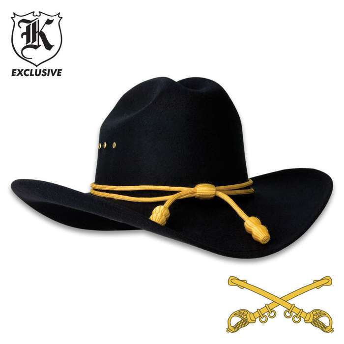 Black Cavalry Hat With Gold Tassels