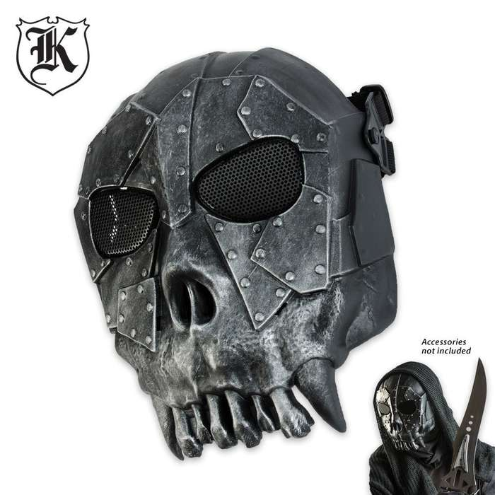 ABS Tribal Skeleton Facemask Silver & Black