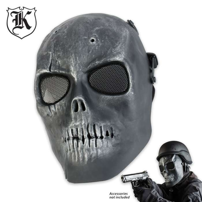 ABS Skeletal Soldier Facemask Silver & Black