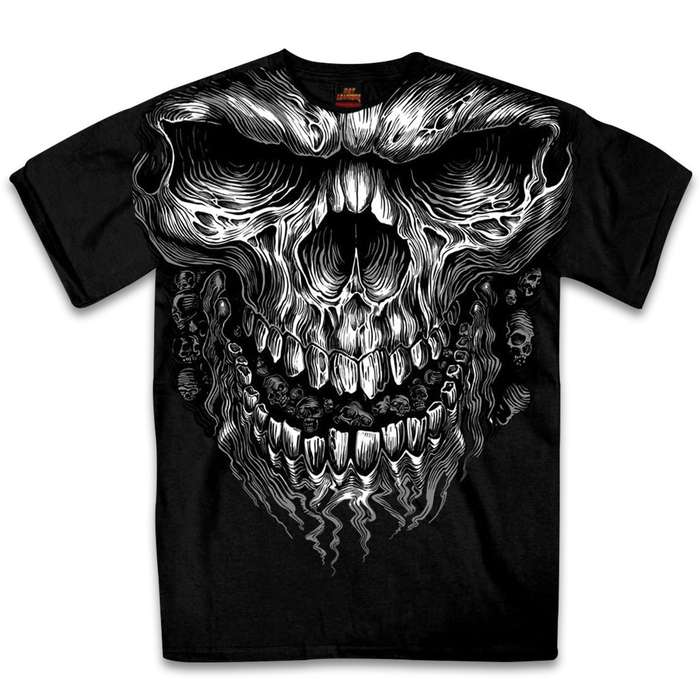 Our Jumbo Shredder Skull Black Short-Sleeve T-shirt has a great casual look that you can wear whether you are on or off your motorcycle