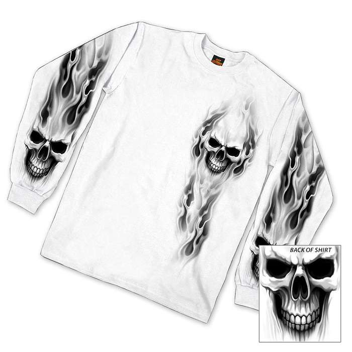 White Out Skull Long Sleeve Shirt