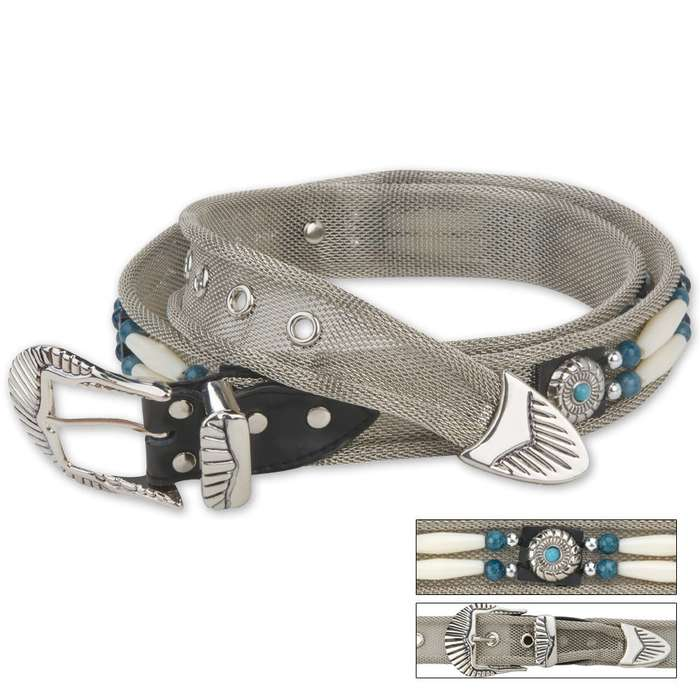 Indian Beaded Link Silver Mesh Belt