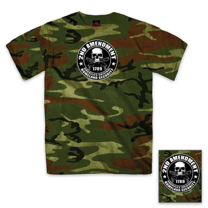 Second Amendment Homeland Security Skull T-Shirt Camo