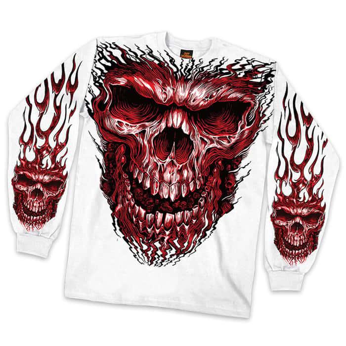 Red Flaming Skull Long Sleeve Shirt