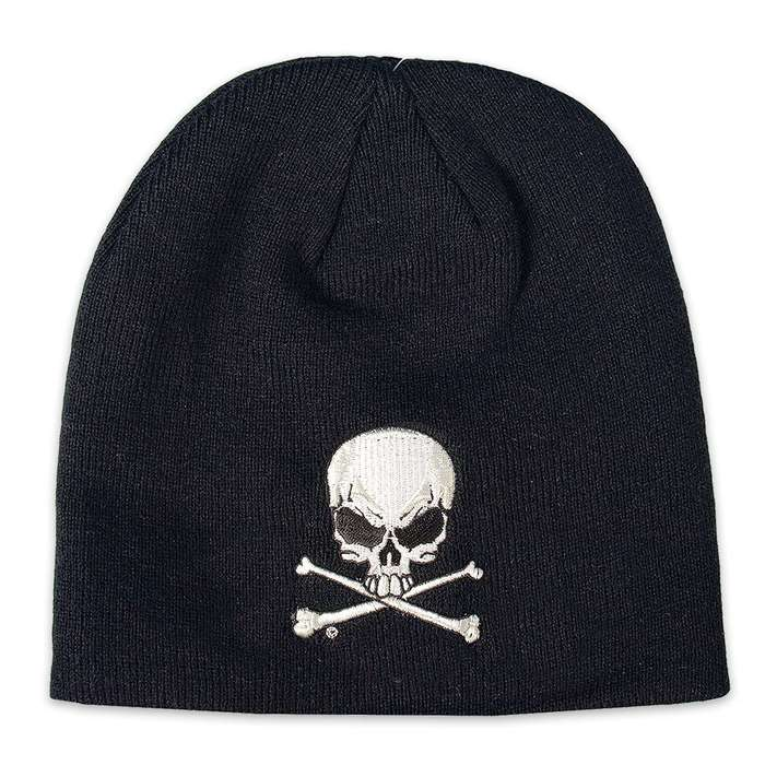 Skull & Cross Bones Knit Beanie Hat