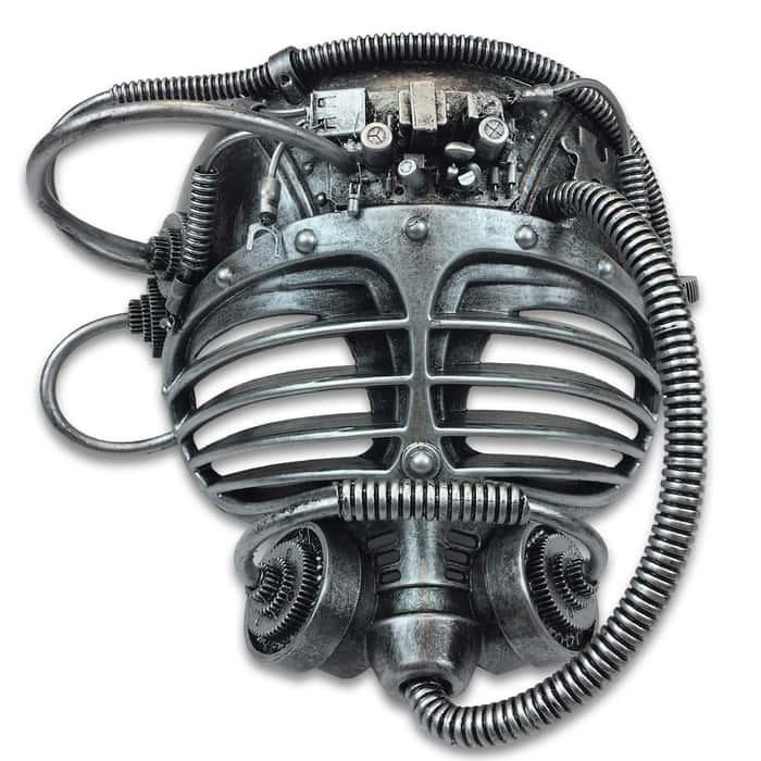 "Silver Steampunk Submarine Masquerade Mask - Sculpted Flexible Plastic, Silk Tie Ribbons, Original Design - Dimensions 7 1/2""x7""x5"""