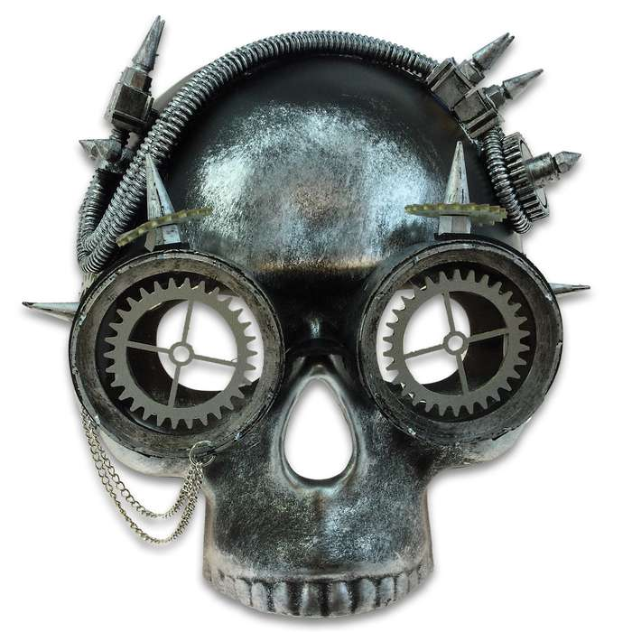 "Steampunk Skull And Goggles Masquerade Mask - Sculpted Flexible Plastic, Silk Tie Ribbons, Original Design - Dimensions 8 1/2""x 7 1/2""x 4 1/2"""