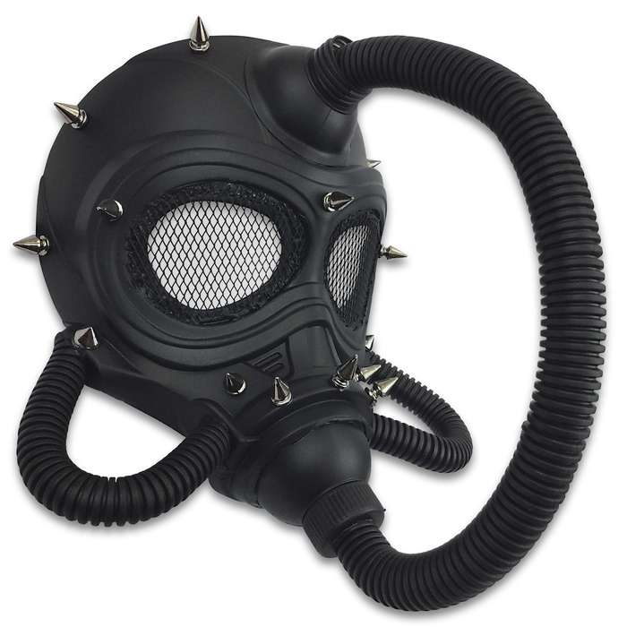 "Black Steampunk Submarine Gas Mask Masquerade Mask - Sculpted Flexible Plastic, Silk Tie Ribbons, Original Design - Dimensions 10 1/4""x9""x8 1/2"""