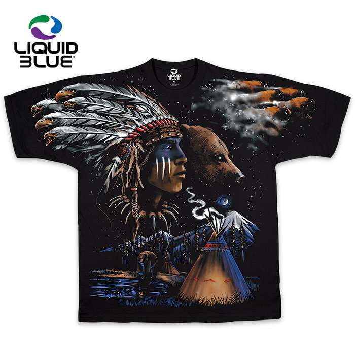 Native American With Bear Black T-Shirt