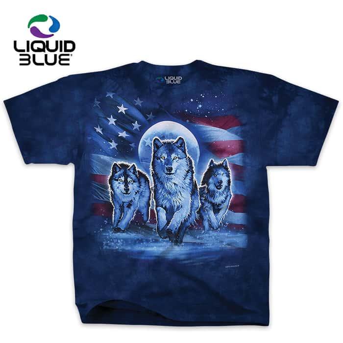 Patriotic Wolf Blue Tie-Dye T-Shirt