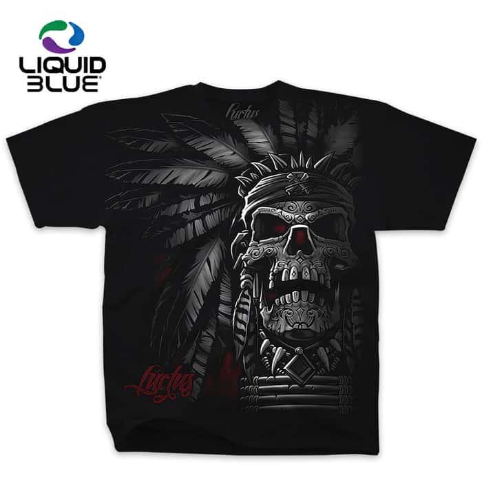Native American Chief Skull Black T-Shirt