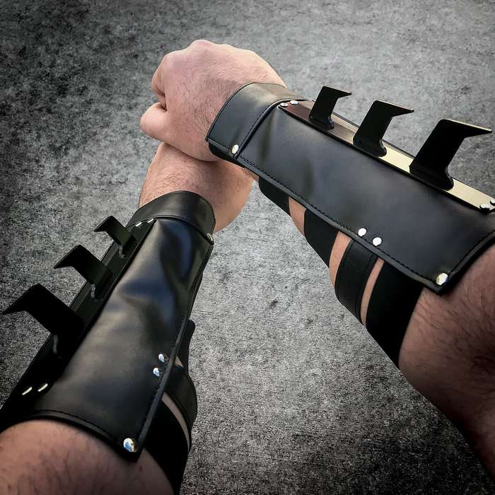 Tactical Arm Bracer Vambrace Set - Faux Leather Construction, Metal Spikes, Steel Plate Armor, Buckle Strap, Elastic Bands - Length 9 1/2""