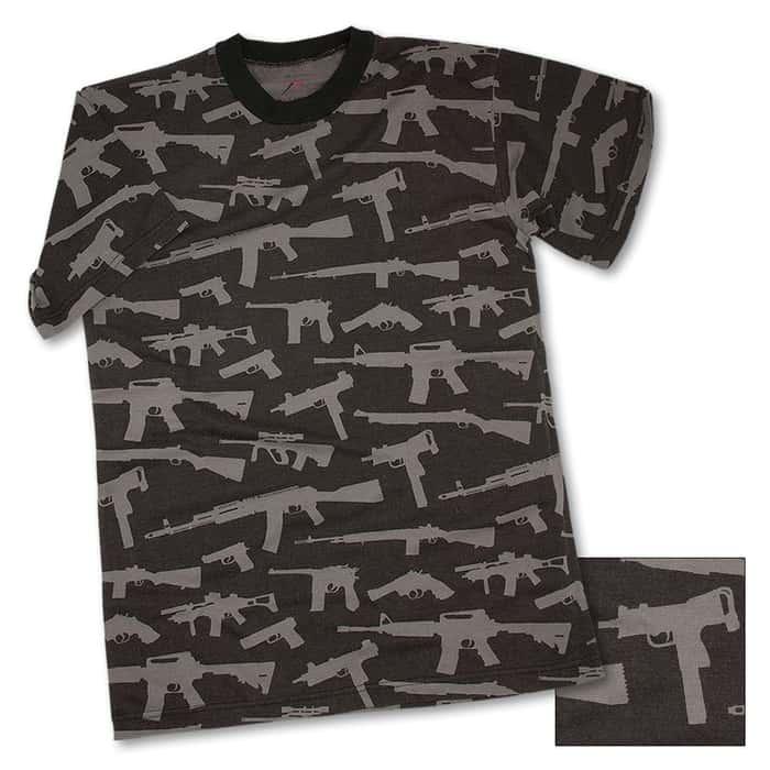 Guns Black Short Sleeve T-Shirt