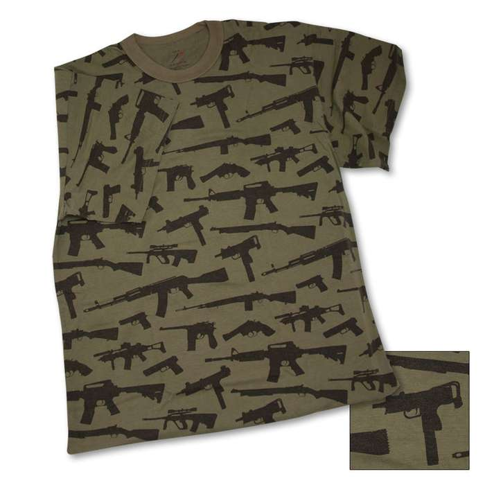 Guns Olive Green Short Sleeve T-Shirt
