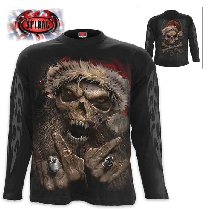 Black Let's Rock Santa T-Shirt - Long-Sleeve