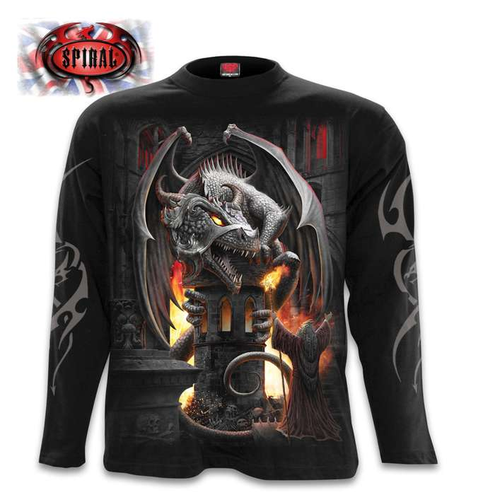 Keeper Of The Fortress Black Long-Sleeve T-Shirt - Top Quality 100 Percent Cotton, Original Artwork, Azo-Free Reactive Dyes