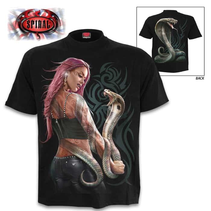 Serpent Tattoo Black T-Shirt - Top Quality 100 Percent Cotton, Original Artwork, Azo-Free Reactive Dyes