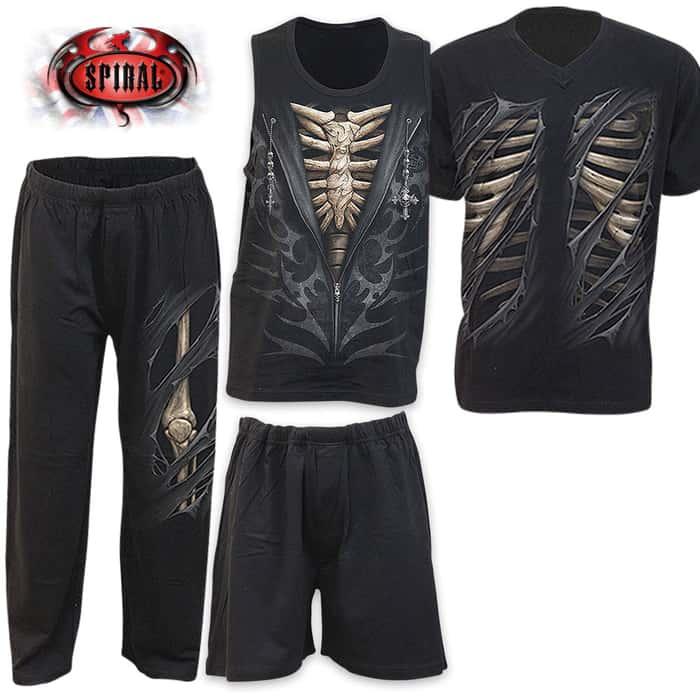 Bone Rips 4-Piece Men's Gothic Pajama Set