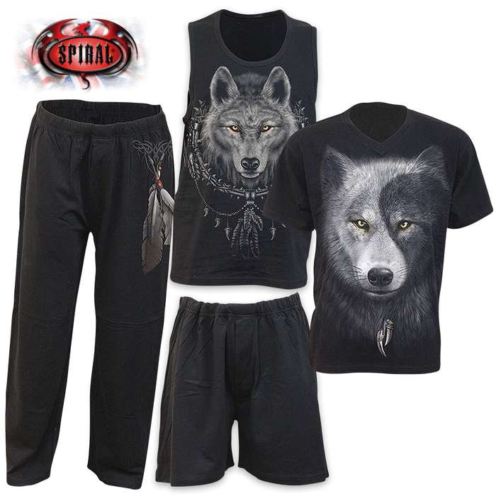 Wolf Chi 4-Piece Men's Gothic Pajama Set