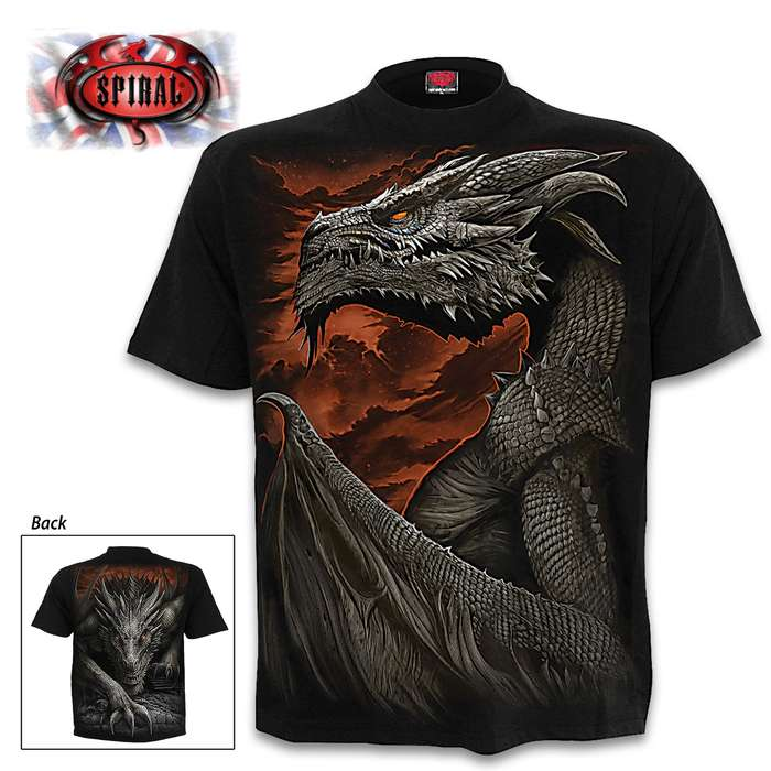 Majestic Draco Black Short-Sleeved T-Shirt - Top Quality Cotton Jersey Material, Azo-Free Reactive Dyes, Original Artwork